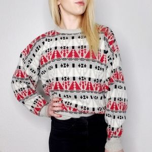90s Vintage Geometric Striped Boxy Grandpa Sweater